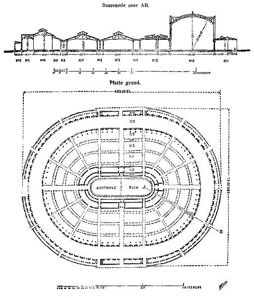 Plan du palais central de l'Exposition universelle de 1867