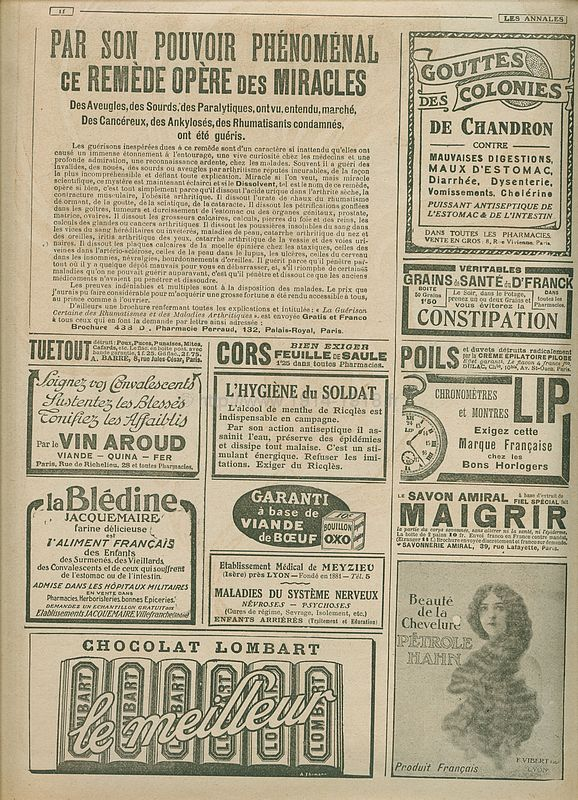 Journal des Annales 11 juin 1916 publicité