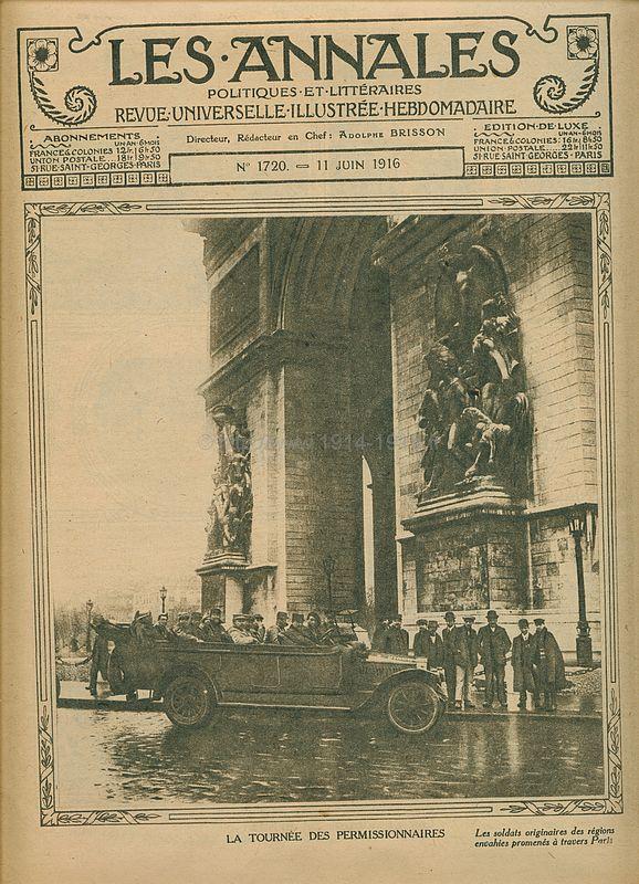 Première page rédactionnelle du journal des Annales 11 juin 1916