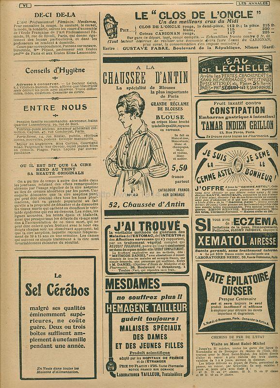 Publicité du journal les Annales du 11 juin 1916