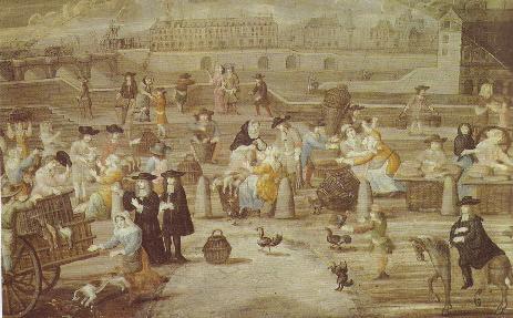 Scène de marché à Paris à la fin du XVIIe siècle
