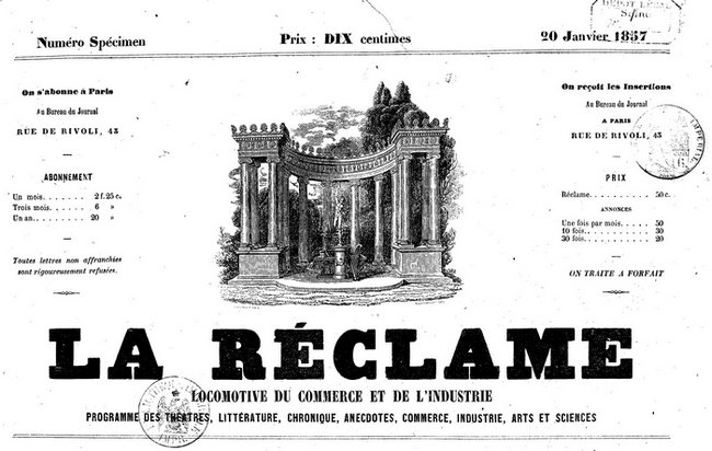 """La feuille de publicité """"la Réclame"""""""