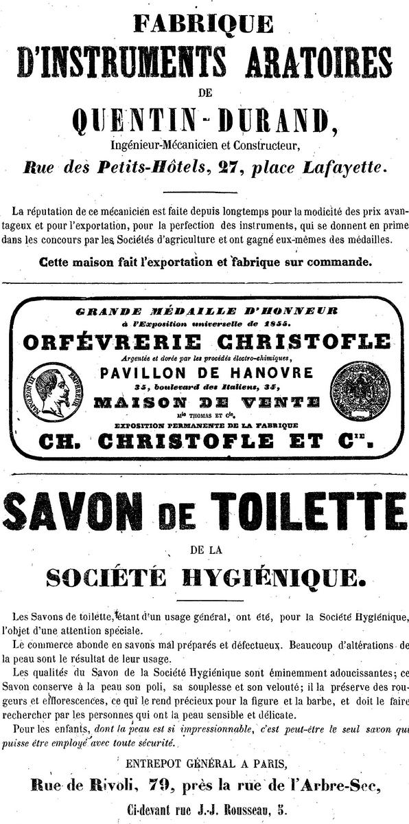 publicités en 1857