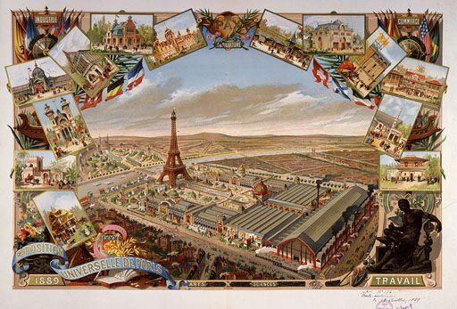 Vue en couleur de l'exposition universelle de 1889