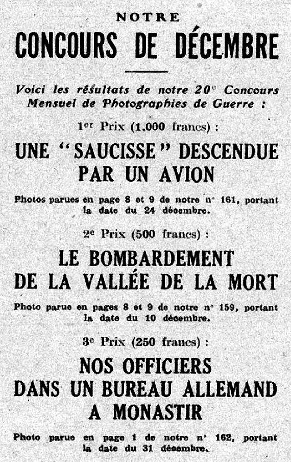 """Annonce parue (détail) dans le """"Miroir"""" en 1917 pour un concours photo"""