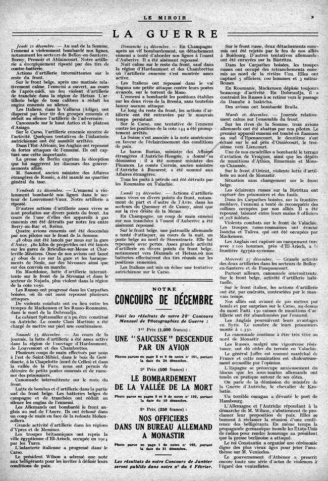 """Annonce parue pour un concours photo dans le """"Miroir"""" en 1917"""